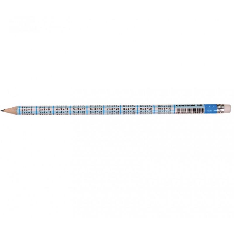 Pieštukas su daugybos lentele ir trintuku padrožtas HB CENTRUM įp.100