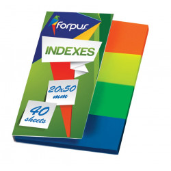 Indeksai žymekliai plastik. 20x50 mm. 4sp. po 40 l. FORPUS  įp.20